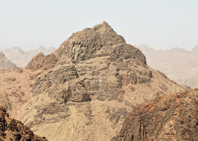 View of Jebel Musa, the mountain traditionally identified as Mount Sinai.