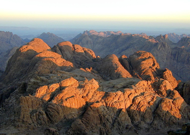 View of Ras Safsafa and surrounding mountains from Jebel Musa, southern Sinai peninsula (Egypt).