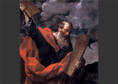 Guido Reni, Moses with the Tables of the Law. Oil on canvas, circa 1624. Galleria Borghese, Rome.